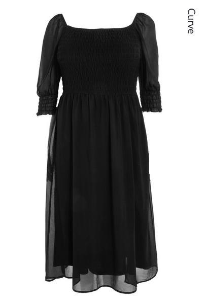 Curve Black Chiffon Midi Dress